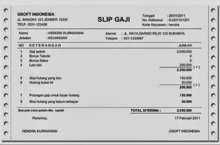 Contoh Slip Gaji Staff Keuangan