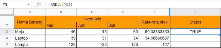 Rumus Excel AND